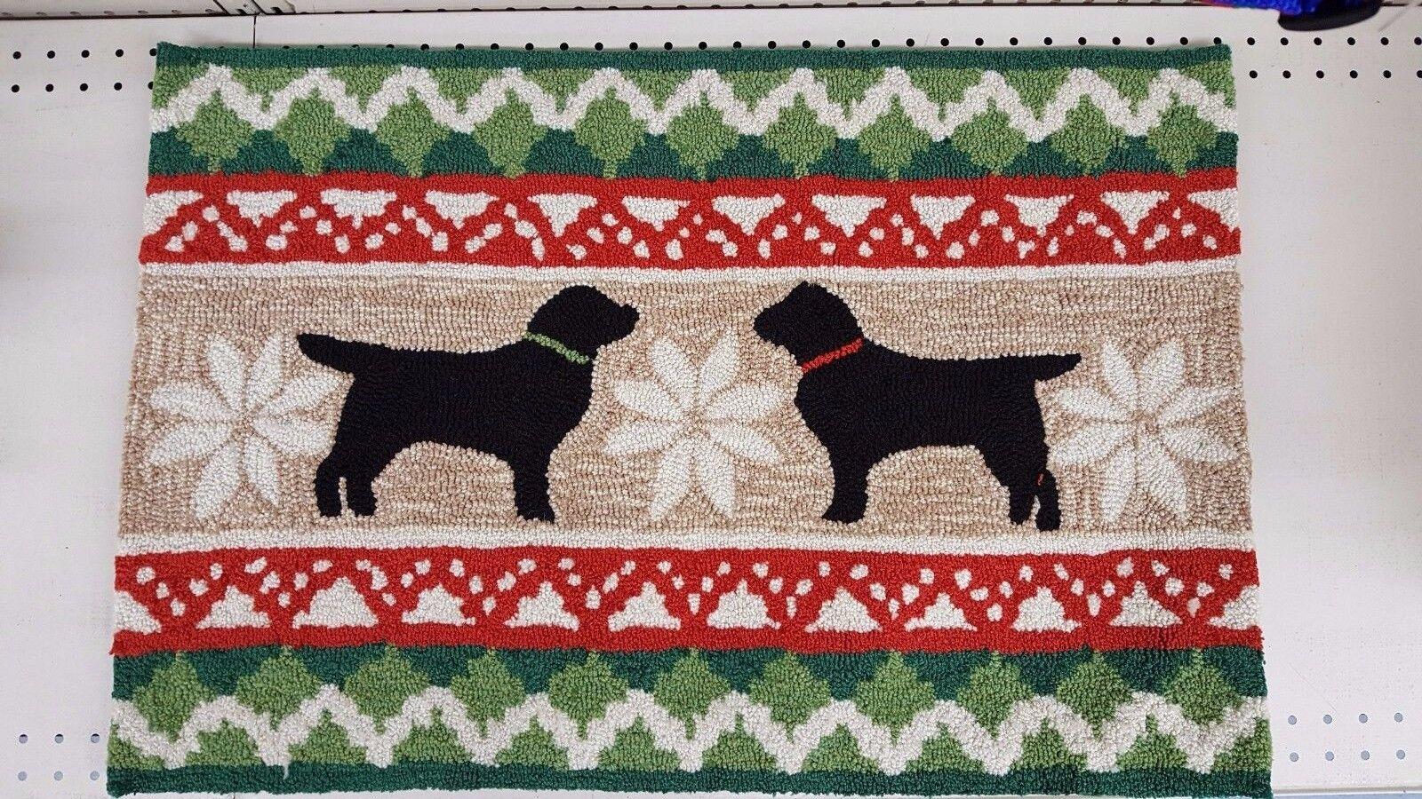 "Liora Manne ""Nordic Dogs"" Black Lab Rug ~ Hand Tufted ~ 20"""