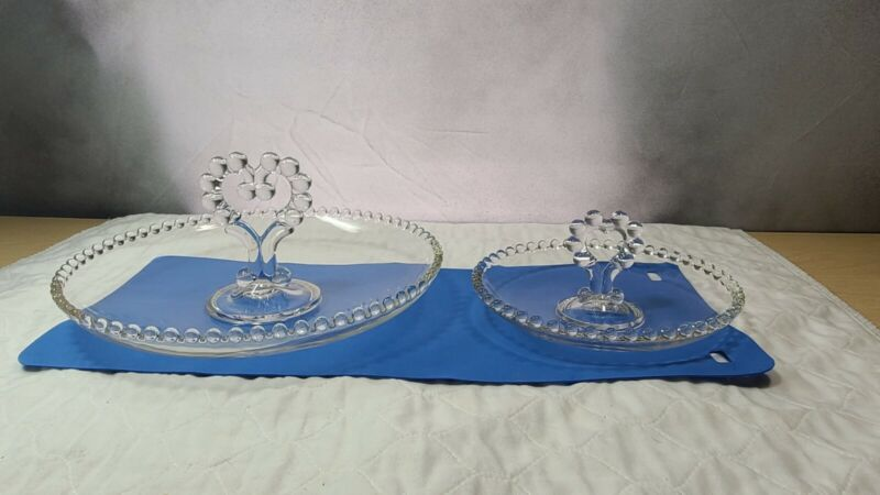 Imperial Candlewick Set Of 2 Cupped Center Handled Fruit Bowls - Hard To Find