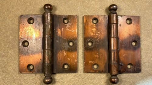 "Pair of Vintage Japanned Copper Stanley Sweetheart Cannon Ball 3.5"" Door Hinges"