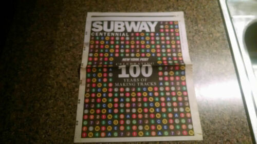 NYC New York Subway Transit Newspaper NY Post 100th Centennial Pullout Trains