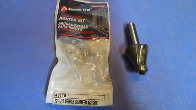 1 New Amana Tool 49410 22-12 Chamfer 12 Shank Carbide Tipped Router Bit.