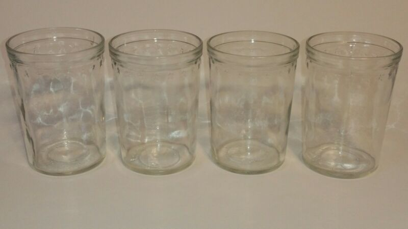 """(4) VTG Anchor Hocking L-21003 Clear Small 4"""" Jelly Juice Jars w/Raised Stars"""