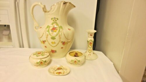 5-pc Crown Devon SF&CO Stoke on Trent England Dresser & Water Set-Floral Cameo