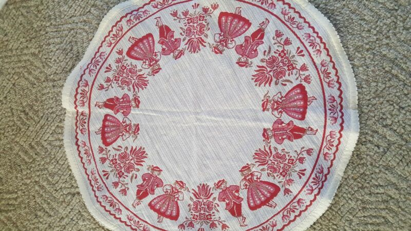Vintage Kolf Made In Austria Round Table Runner Ethnic People Large