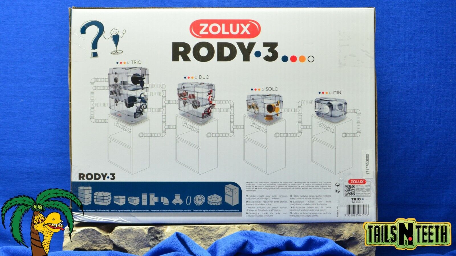 Zolux RODY-3 TRIO Cage For Hamsters Gerbils Mice - Blue - InterConnecting Cages - CA$66.99