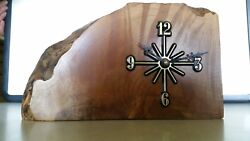 WOODEN CLOCK, desk clock, Quilted live edge Maple.