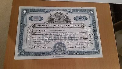1937 Shawnee Pottery Company Stock Certificate by Addis E. Hull of Hull Pottery