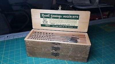 Stanley Russell Jennings Auger Bits #100 Set No. 32 1/2 Quarters Complete Box