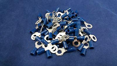 14-16 Gauge Vinyl Ring 14 Connector 100 Pk Blue Crimp Terminal Awg Car Suv