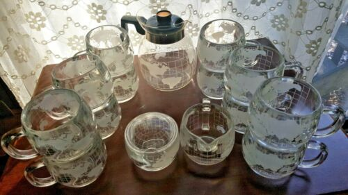 Vintage Nestle Nescafe Clear Glass Globe Carafe Sugar Creamer 12 Cups