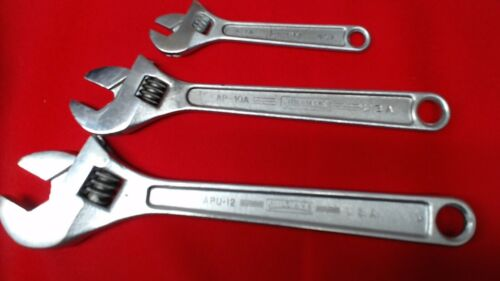 VINTAGE WILLIAMS ADJUSTABLE CRESCENT TYPE WRENCHES (3) MADE IN THE USA