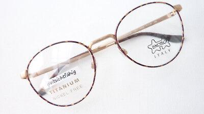 Panto Brille groß Titan Gestell nickelfrei braun gold Marke Luxottica Grösse M