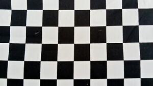 BLACK & WHITE CHECK FABRIC CHEQUERED COTTON PER METER 152cm wide squires 3cm sq
