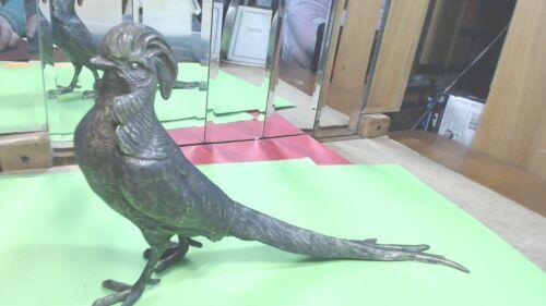 Vintage  P.N.C.W. Large-Silver Coated Cast Zinc- Pheasant Bird  Cock-Figurine-