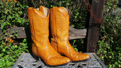 Vintage, Cowboy, Boots, •, Full, Quill, Ostrich, •, Honey, •, Mens, 10, 1/2, , •, (Y12)