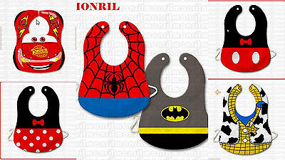 CLEARANCE Baby Boy Girl Costume Feeding Bibs Cars Mcqueen Disney Woody Spiderman