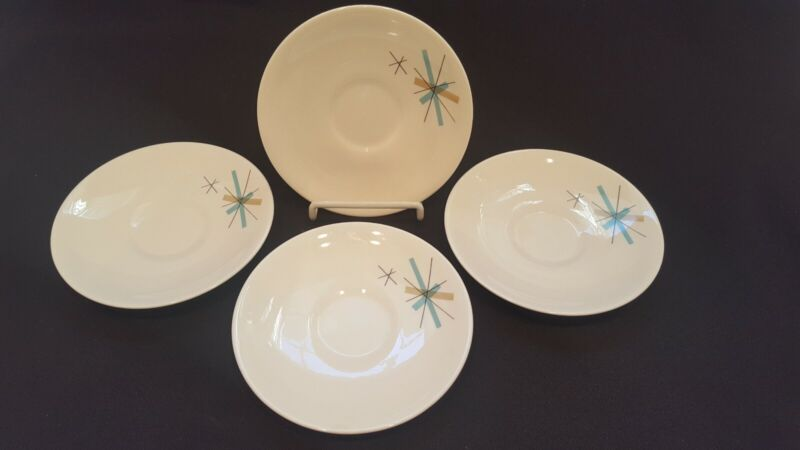 "VTG Mid Century Modern 6"" Atomic Star Burst Salem North Star Saucer Set of 4"