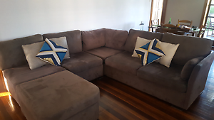 Chocolate Brown L shaped Sofa with Chaise Seven Hills Brisbane South East Preview