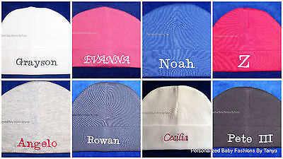 L@@K! DARLING PERSONALIZED MONOGRAM BEANIE BABY HATS-INFANT/NEWBORN 0-3 MO](Beanie Personalized)