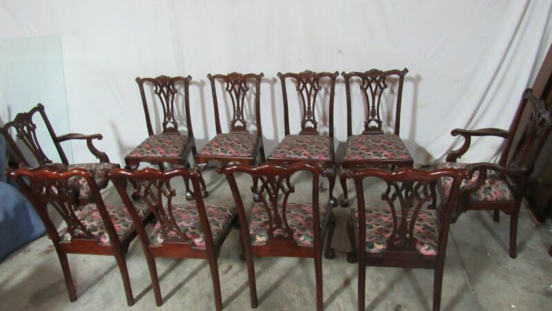 Set Ten Dining Room Chairs Chippendale Mahogany Claw