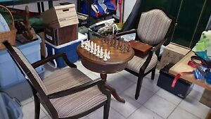 Game Table Chess Set  complete with chess pieces & 2 chairs