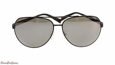Armani Exchange Men's Sunglasses AX2017 60636G Matte Black/Grey Mirror Silver Av