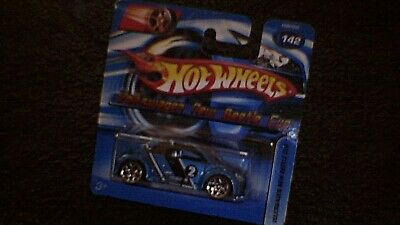 Hot Wheels - UK Card - #142 Volkswagen New Beetle Cup - Met Blue, White & Black