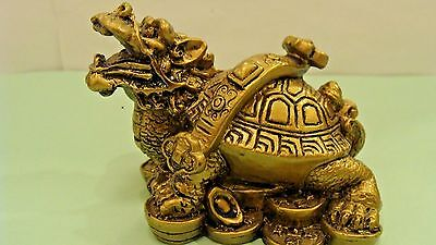 Chinese Feng Shui WEALTH Money Coin Dragon Turtle Tortoise Statue Figurine