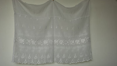Embroidered white fabric section 1900s