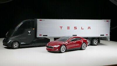 NEW To Market! Matchbox Convoy Tesla Semi & Box Trailer W/ Red Tesla Model S