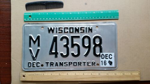 License Plate, Wisconsin, 2016, Transporter, 54472, with Paperwork