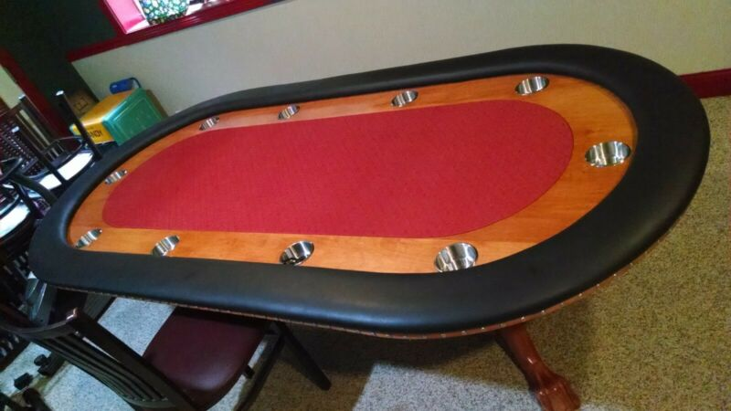 Custom Poker Table, Red speed Felt, Double Pedestal /w 10 chairs