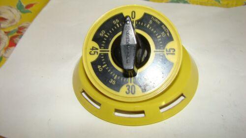 Vintage RETRO Yellow Dark Mustard Kitchen Timer by Mark Time Bell HARVEST GOLD