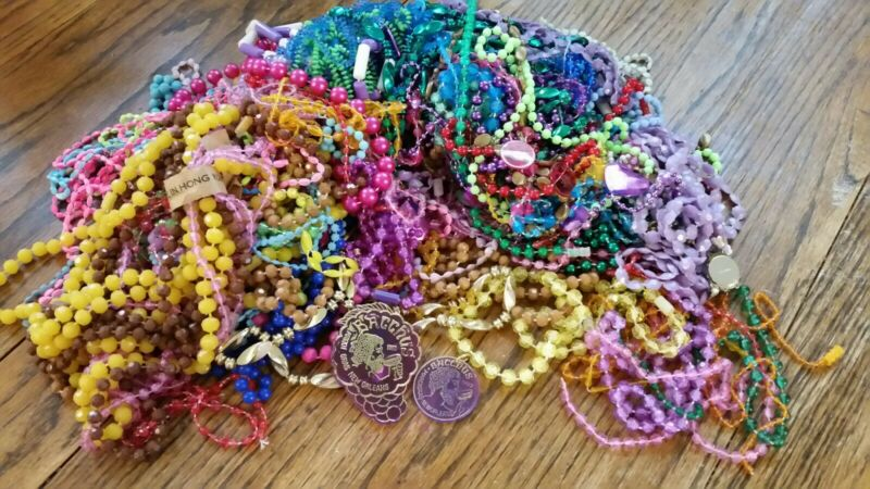 Vintage 60s/70s Mardi Gras Beads Necklace Lot-4 Lbs-Hong Kong-Bacchus NewOrleans