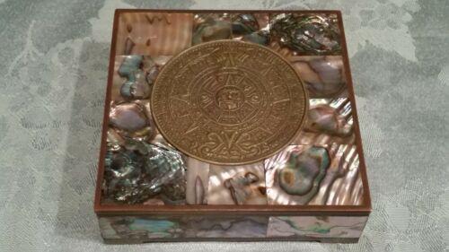 "VINTAGE TAXCO MEXICO INLAID ABALONE AZTEC MYAN SUN GOD BRASS? TRINKET BOX 4""X4"""