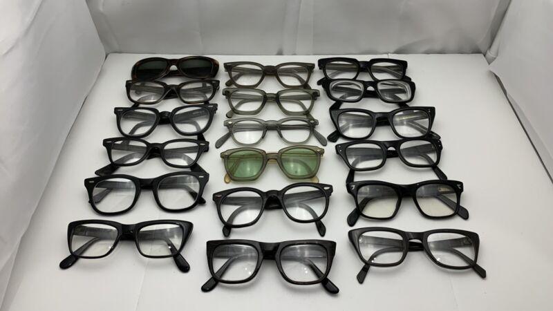 Lot of 18 Vintage Eyeglass Sunglass Safety Frames & Parts