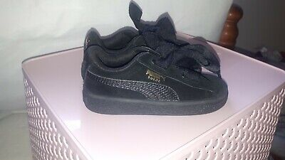 Girls NEW Puma suede black trainers infant size 6 BNWOT