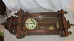 HAC Oak Wall Clock Hamburg American Clock Co Junghans C 1900 Nice