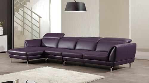 3 Pc Modern Purple Italian Top Grain Leather Sectional Sofa Chaise Chair Set