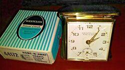 44172 BLACK Gold Luminous Vintage WESTCLOX WindUp Travel Alarm Clock HOME-N-AWAY