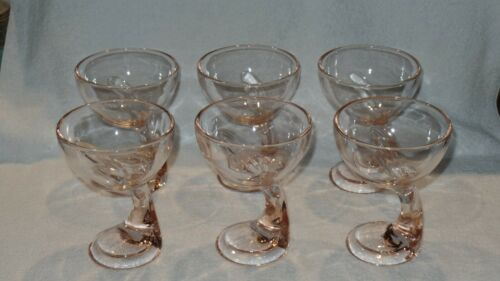 Bormioli Rocco Jerba Dessert Glass Bowl Curved Stem Cup in Pink - Set of 6