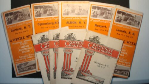 Vintage 1917 Massive CHAUTAUQUA RED PATH Programs - New York - Extremely RARE