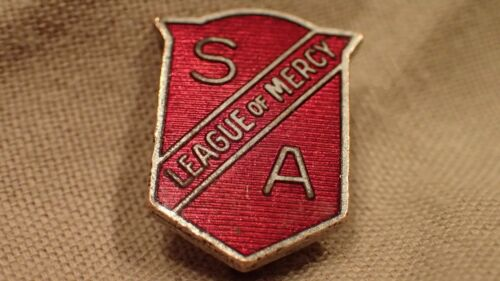 ANTIQUE SALVATION ARMY LEAGUE OF MERCY RED SHIELD PIN Vintage Brooch Soldier