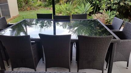 Outside table with chairs for 10 people
