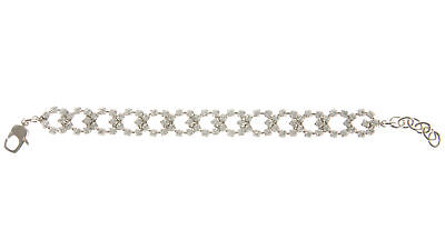 JOOMI LIM Let them Eat Cake 3 Ring Crystal Bracelet - White & Rhodium NEW