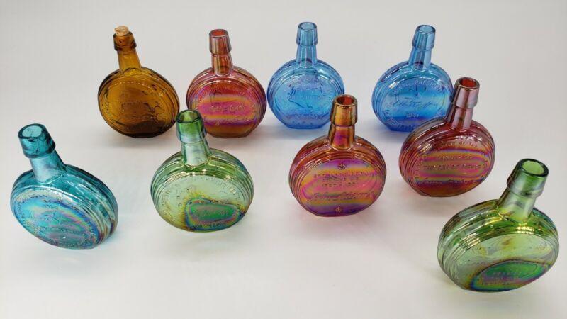 LOT OF 9 U.S. PRESIDENTS WHEATON MINIATURE BOTTLE FLASK COLORED CARNIVAL GLASS
