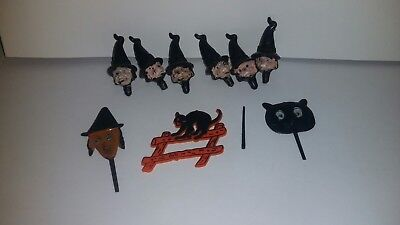 Vintage Halloween Cake Decorations. Witches, black cat, wand, ghoul. - Sinister Halloween Decorations