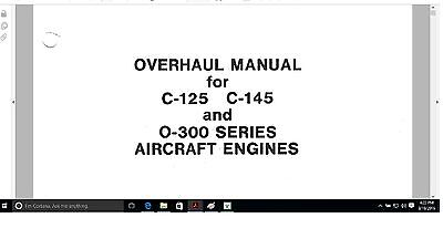 Continental aircraft engine O-300 service overhaul manual Library