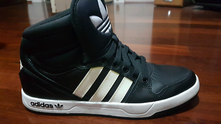 Adidas Court Attitude High Top Shoes, Black & White $60-US 8 1/2