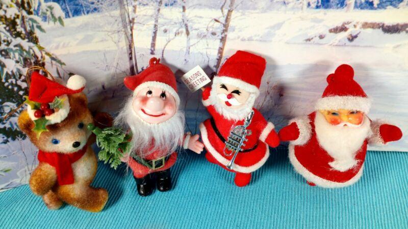 Lot of 4 Vintage Christmas Flocked Figures Ornaments Decorations  Santa Elf Bear